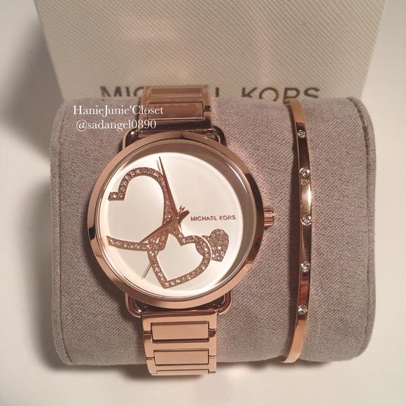 560321b62fcb Michael Kors Portia Rose Gold-Tone Bracelet Watch